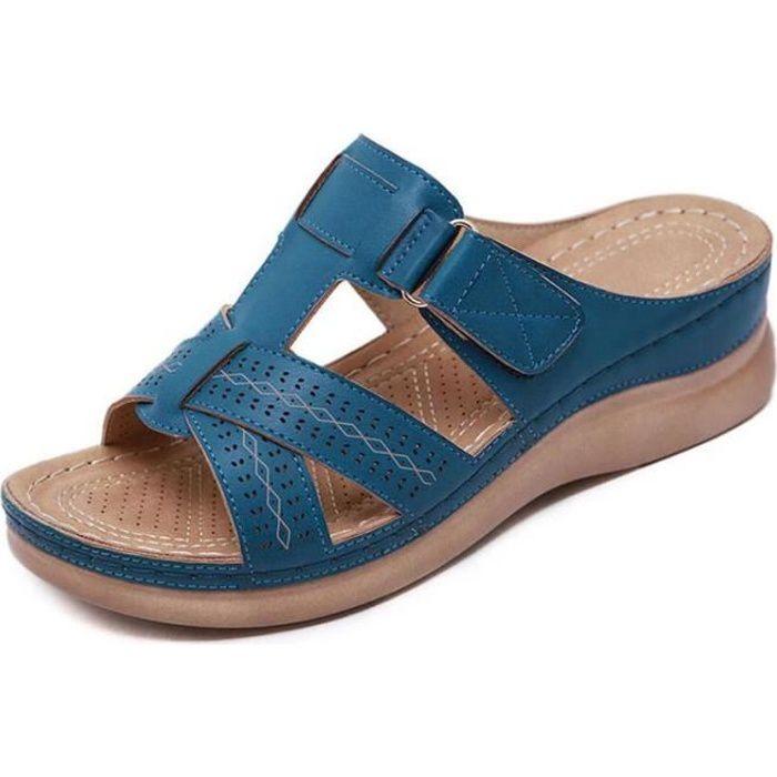 Sandales orthopédiques à bout ouvert pour femmes Bleu