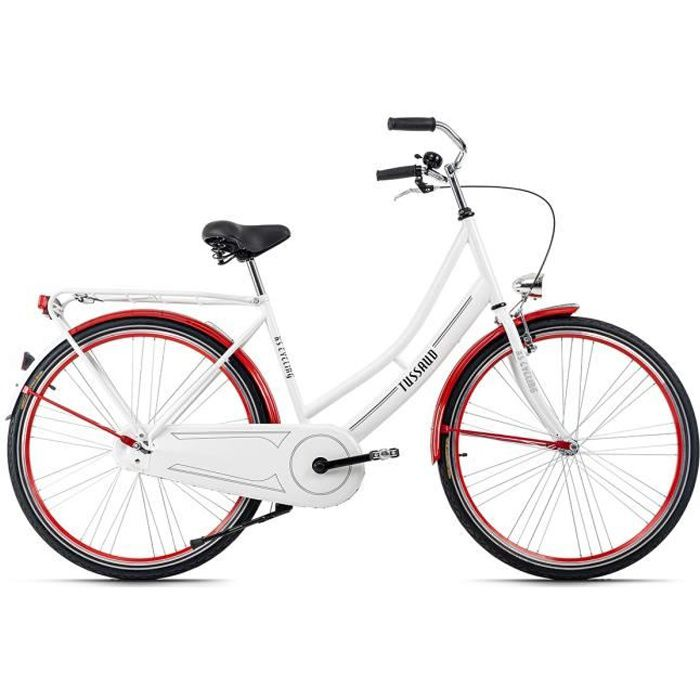 Vélo hollandais dame 28'' Tussaud blanc-rouge TC 49 cm KS Cycling