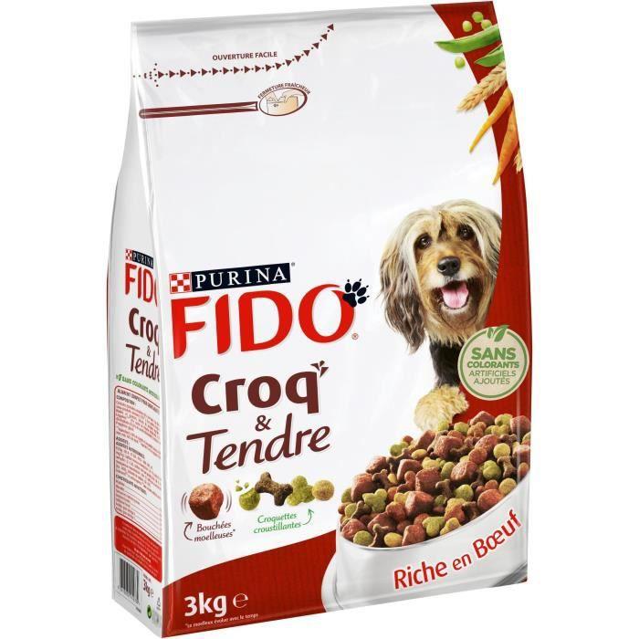 FIDO Croq'&Tendre - Bœuf, céréales et avec des vitamines - Pour chien adulte - 3 kg