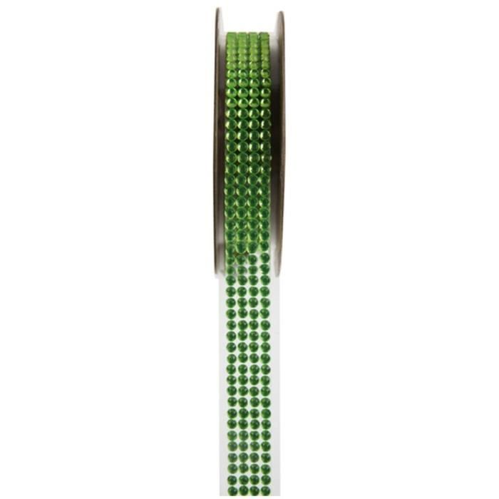 Ruban strass autocollant Vert 15 mm x 1 m