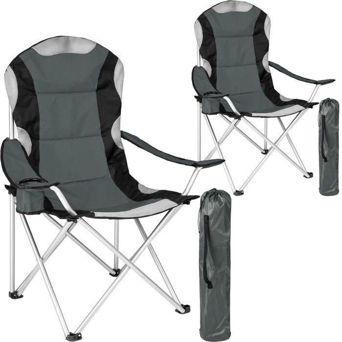 TECTAKE Lot de 2 Chaises de Camping pliables avec Porte Gobelet et Housse Sac de Transport Gris Noir