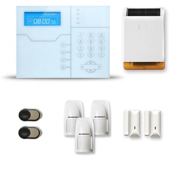 Alarme maison sans fil SHB 2 à 3 pièces mouvement + intrusion + sirène extérieure solaire - Compatible Box internet et GSM