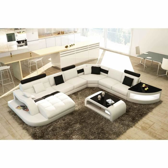canap d 39 angle design panoramique blanc et noir achat vente canap sofa divan cdiscount. Black Bedroom Furniture Sets. Home Design Ideas