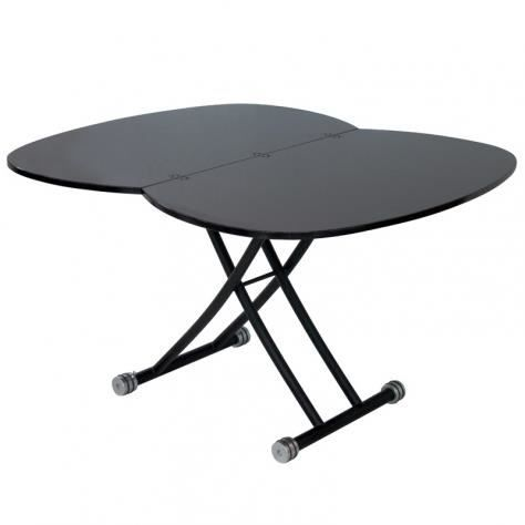 Table basse relevable rallonge laqu e noire caoza for Table basse relevable occasion