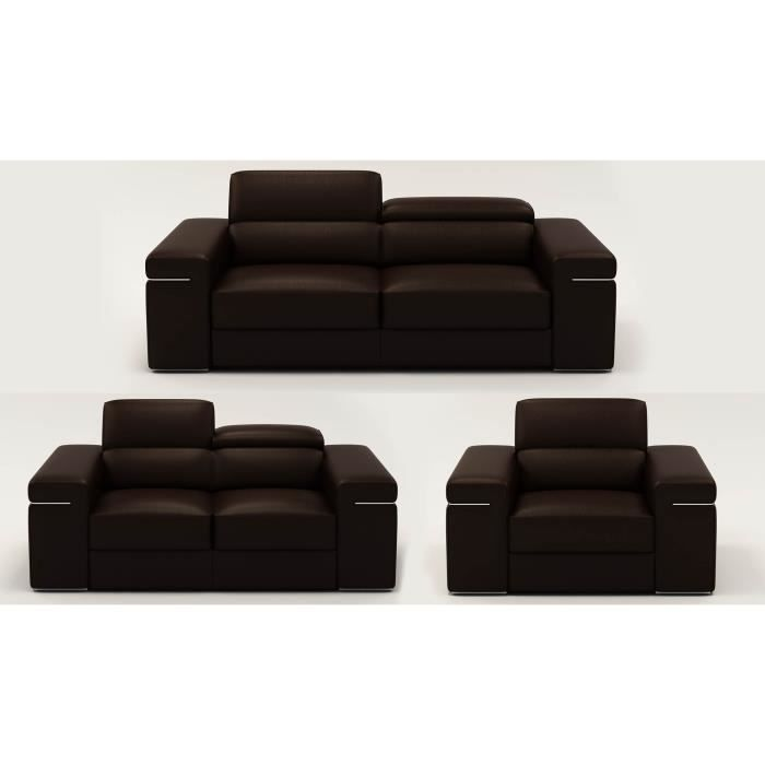 Ensemble canap 3 2 1 places en cuir marron max achat for Canape cuir marron 2 places