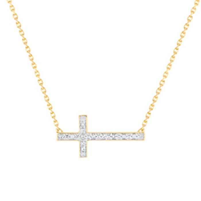 Collier Brillaxis croix diamants or 18 carats