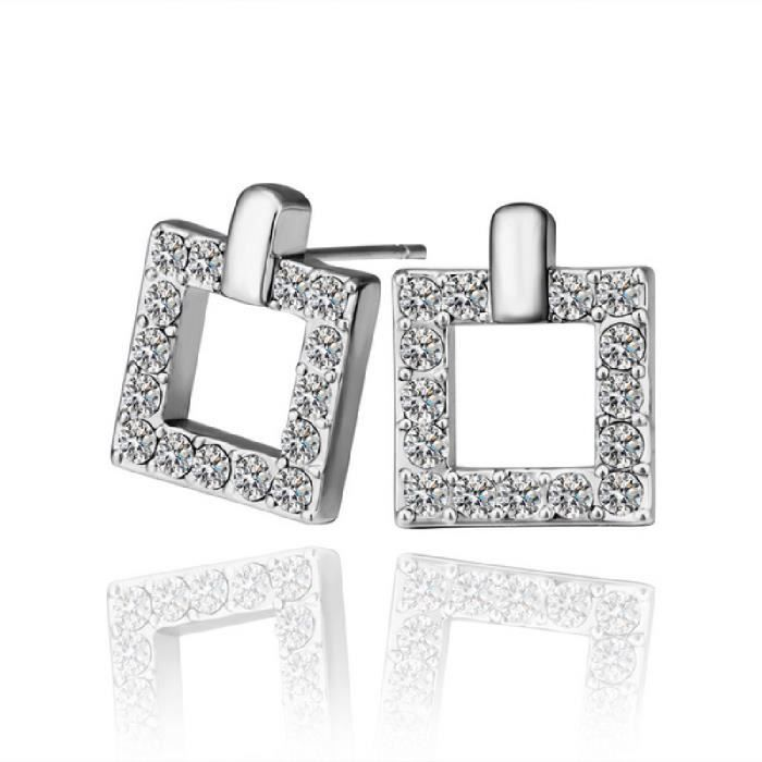 Boucle d'oreille or rectangle