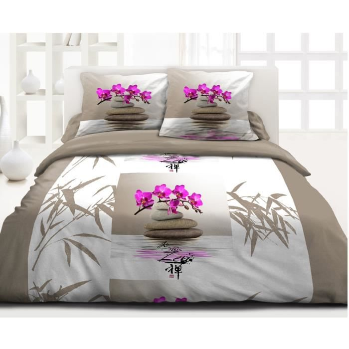 housse de couette 220x240 lotus zen top prix achat vente housse de couette cdiscount. Black Bedroom Furniture Sets. Home Design Ideas