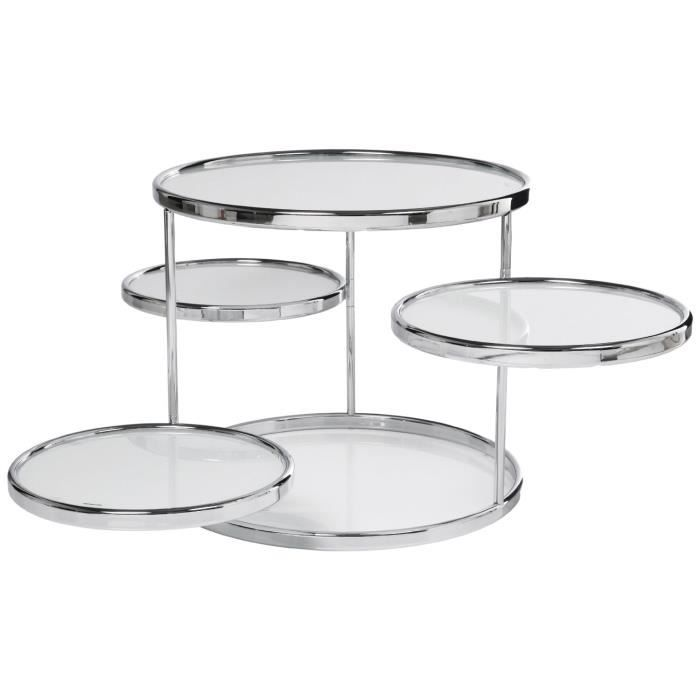 table basse ronde 4 plateaux verre blanc achat vente table basse table basse ronde 4 plateau. Black Bedroom Furniture Sets. Home Design Ideas