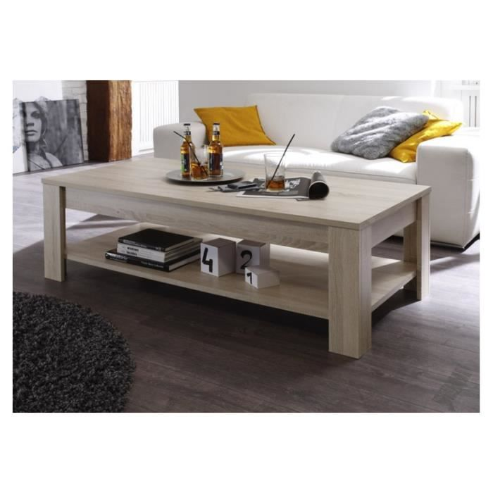 Table basse rustik couleur ch ne blanc 140 achat vente for Table basse chene brut