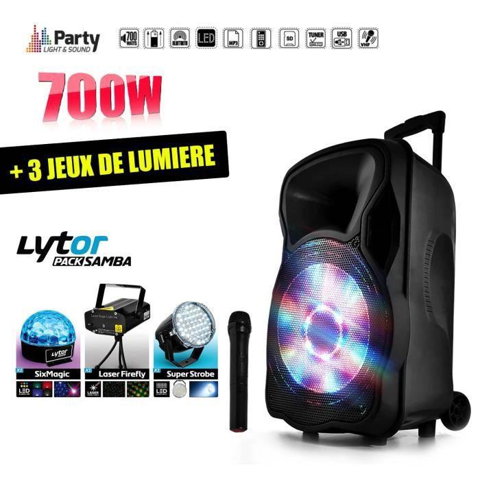 """PACK SONO Enceinte mobile amplifiée 700W 12"""" LED-USB-BT-SD-F"""
