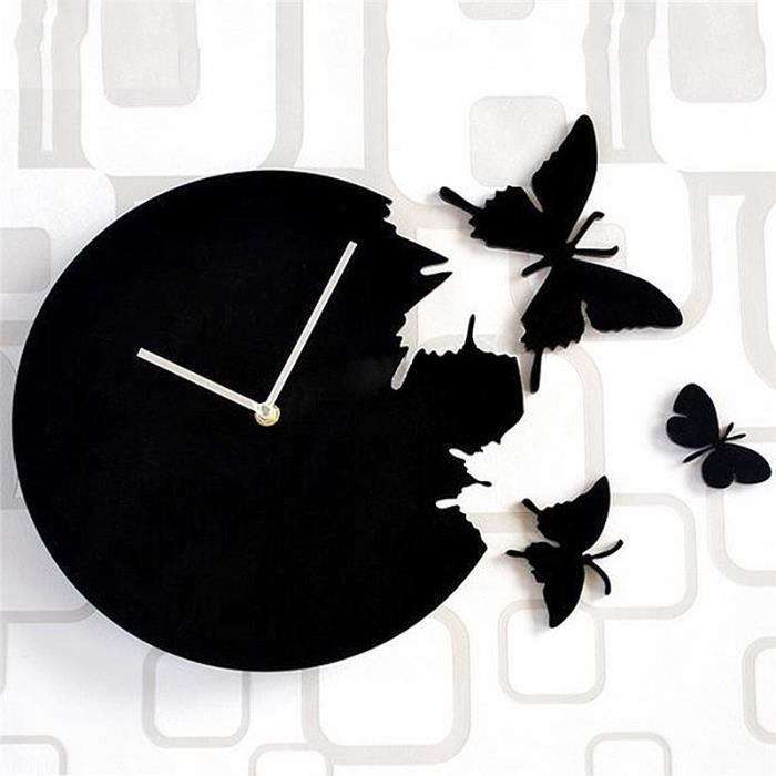 horloge murale 30cm quartz art style design papillon autocollants noir achat vente. Black Bedroom Furniture Sets. Home Design Ideas