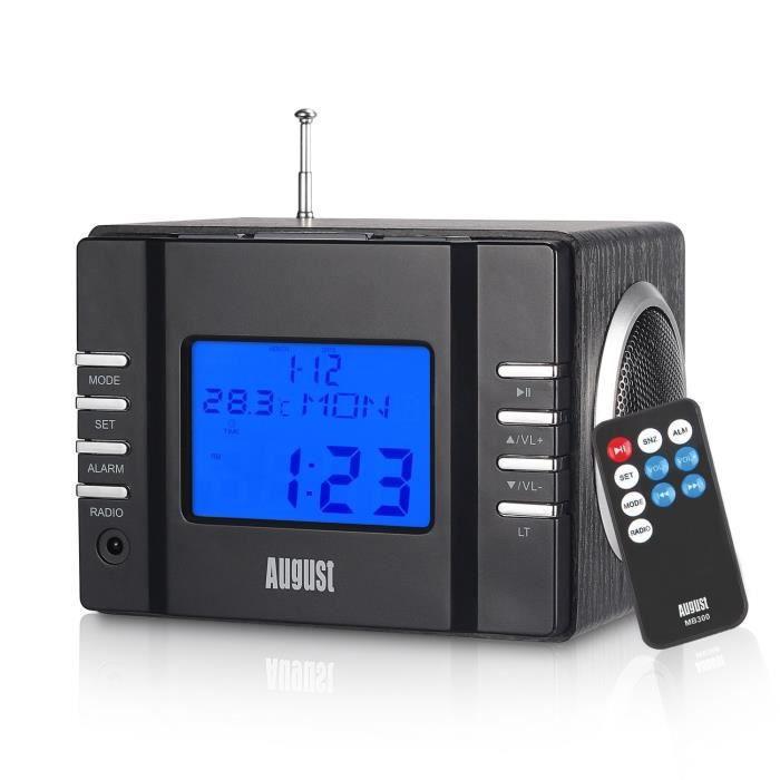 Radio réveil August MB300 - Radio-réveil - Cube lecteur MP3 - R