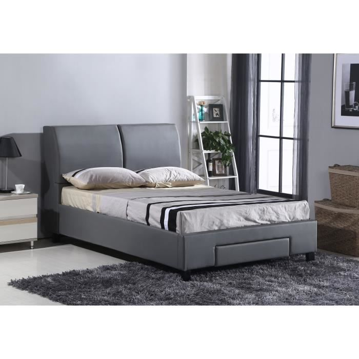 monaco lit adulte avec coffre 160x200 cm en simili gris sommier inclus achat vente. Black Bedroom Furniture Sets. Home Design Ideas