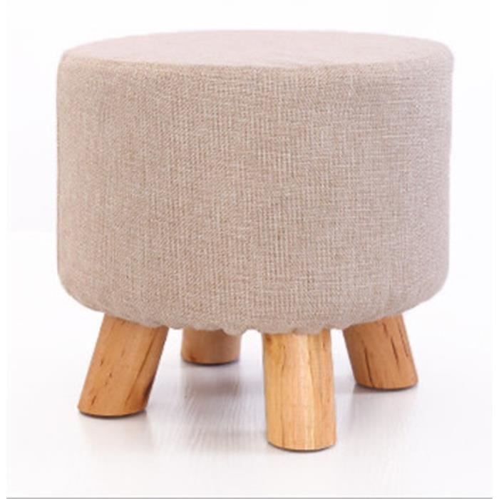 petit tabouret pouf en bois rond repose pieds rembourr. Black Bedroom Furniture Sets. Home Design Ideas