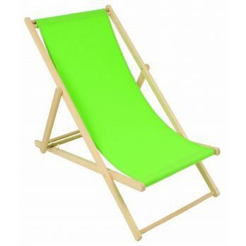 2 chiliennes vert anis en h tre naturel toile a achat for Chaise jardin vert anis