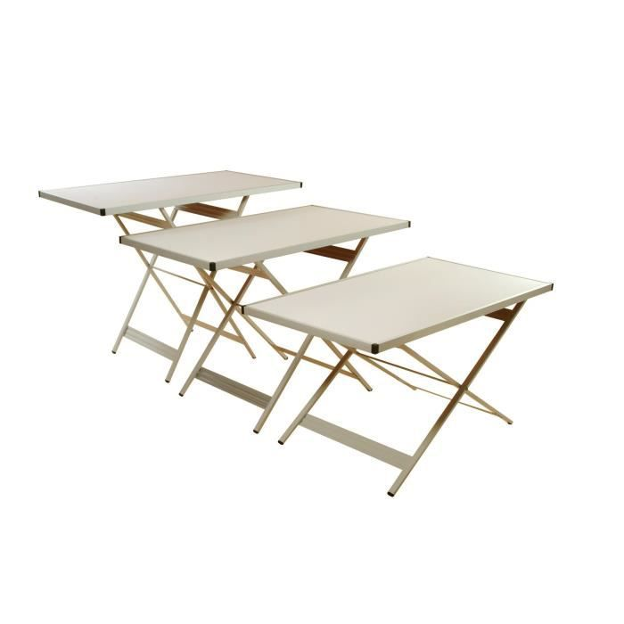 Lot De 3 Tables Pliables D 39 Appoint Multifonctions Achat Vente Table De Pique Nique Lot De 3
