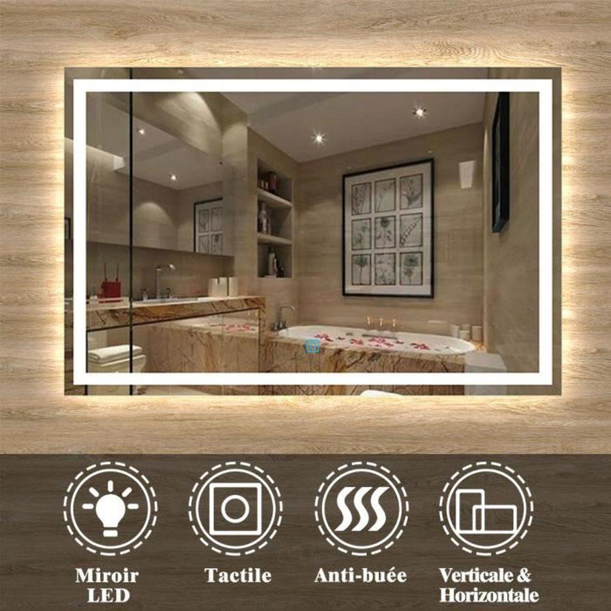 Miroir LED anti-buée 17x17cm miroir de salle de bain - Achat