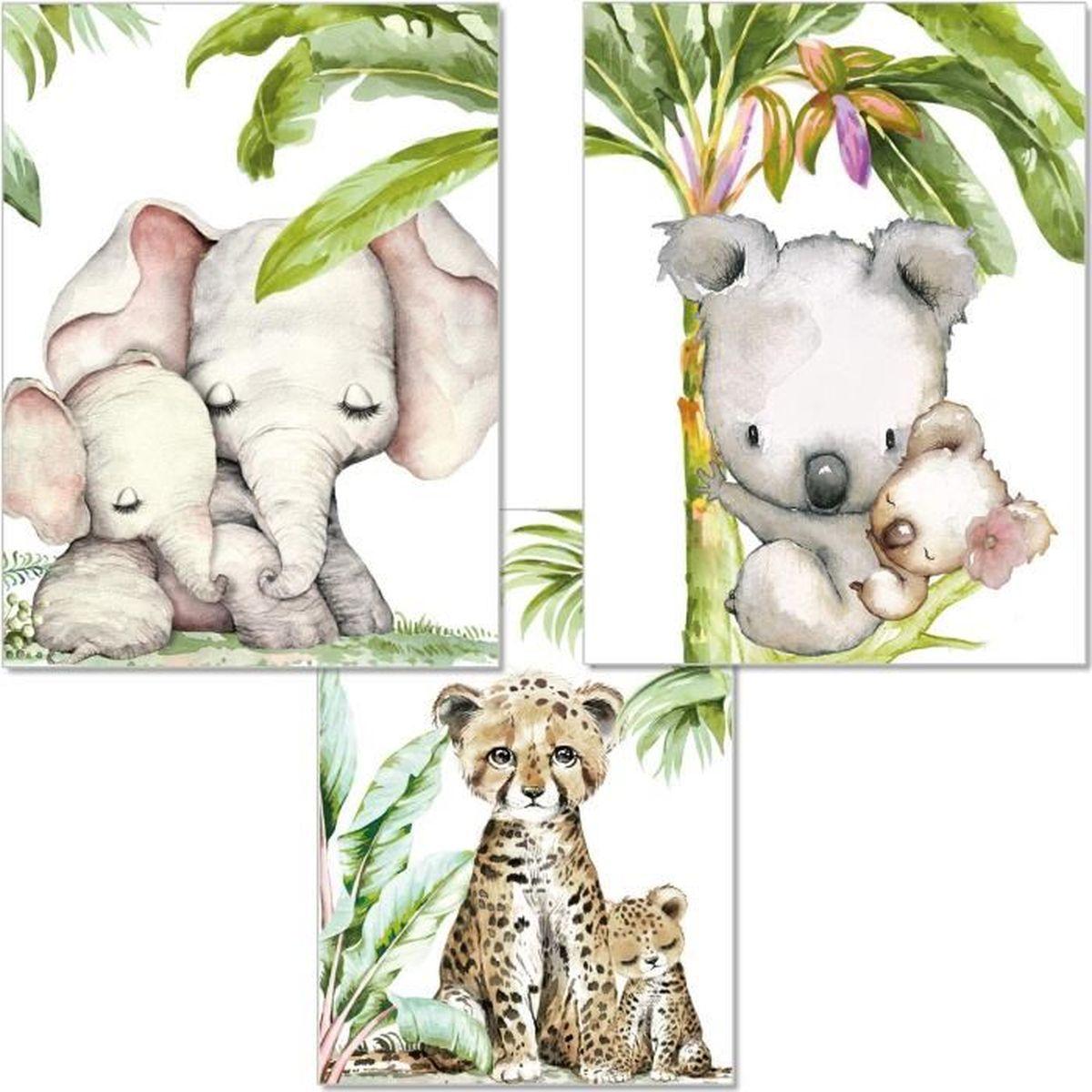 Lot de 4 tableaux muraux pour chambre denfant Motif animaux de la jungle et safari en Afrique pour gar/çons et filles