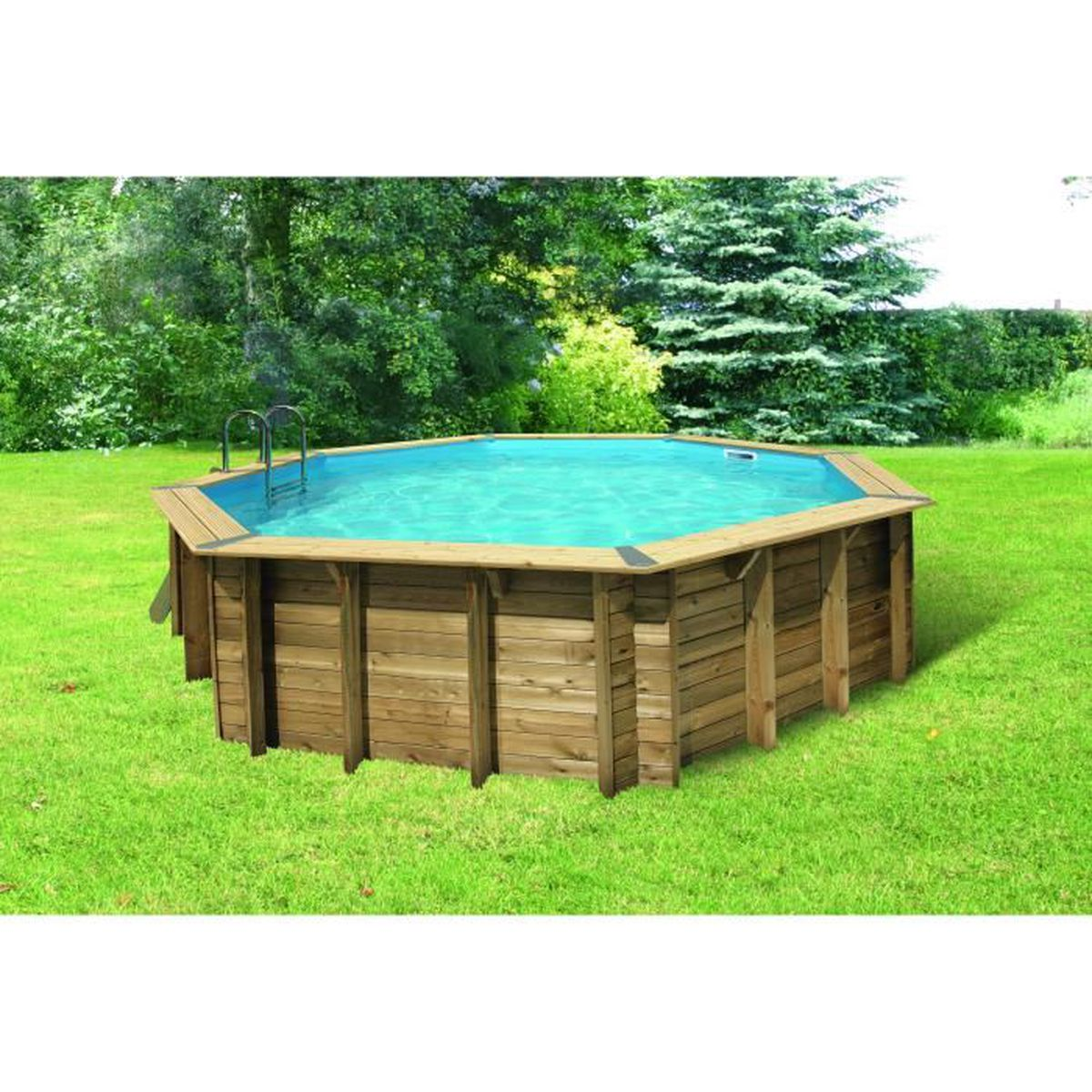ubbink piscine octogonale en bois 580xh130 cm liner gris clair achat vente piscine. Black Bedroom Furniture Sets. Home Design Ideas