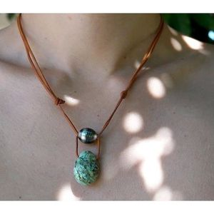 collier homme pierre turquoise