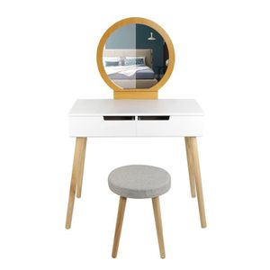 COIFFEUSE 80×40×128 CM Coiffeuse Table de maquillage en bois
