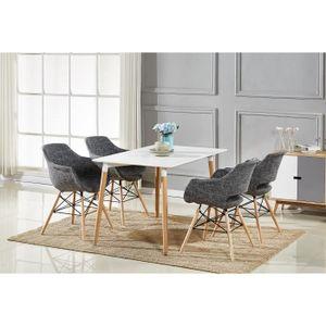 TABLE À MANGER COMPLÈTE Table à Manger Blanche + 4 Chaises Gris Foncé en T
