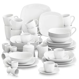 SERVICE COMPLET Malacasa 50pcs Service de Table Porcelaine Assiett