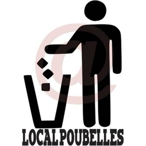 sticker autocollant local poubelle poubelles maison immeuble proprete achat vente stickers. Black Bedroom Furniture Sets. Home Design Ideas