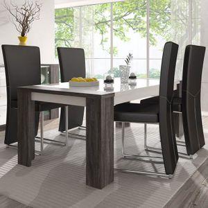 TABLE À MANGER SEULE Table blanche et couleur chêne gris 180 cm moderne