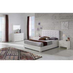 STRUCTURE DE LIT Lit GRANTI 160x200cm en PU blanc - L 200 x l 160 x