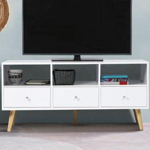 MEUBLE TV Meuble TV EFFIE scandinave 3 tiroirs bois blanc