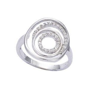 BAGUE - ANNEAU Bague Spirale Cercles Zirconia Argent