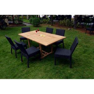 SALON DE JARDIN  salon de jardin table en teck brut et 6 chaises en