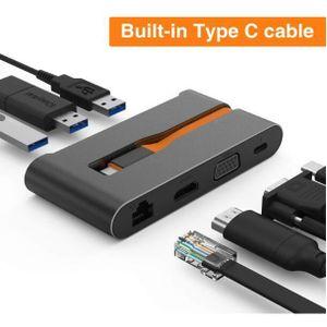 CÂBLE INFORMATIQUE Hub USB C,Typ C Hub Aluminium Adaptateur Type C av