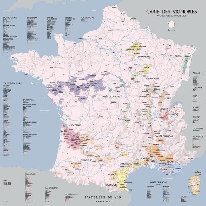 Cartes des vignobles 57 x 57cm DECOUVERTE-