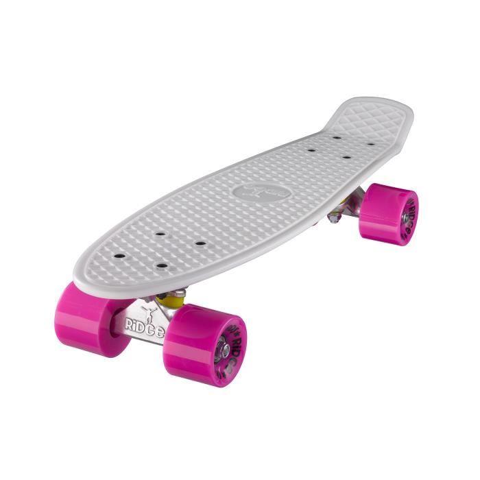 """Planche à Roulettes Mini Cruiser Originale Complète 55cm 22"""" Ridge Skateboards BLANC- ROSE"""