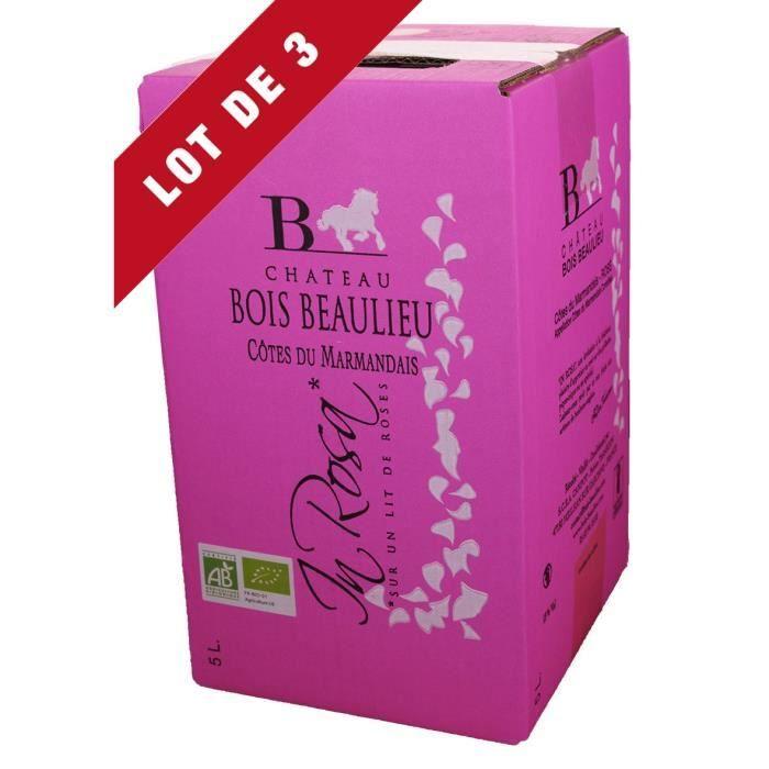3X Bag-in-Box 5L Château Bois Beaulieu Rosé AOC Côtes du Marmandais - Vin Rosé