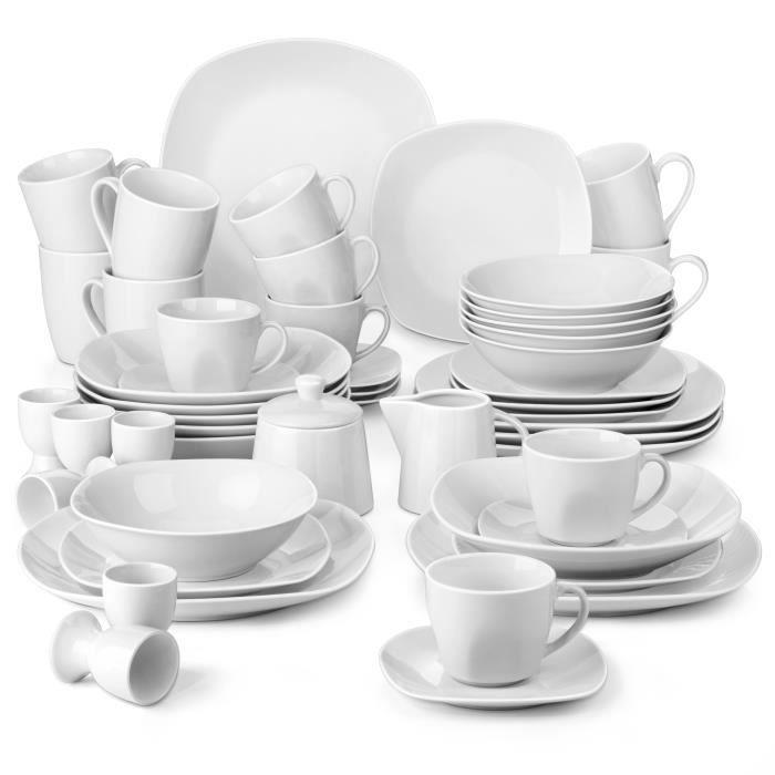Malacasa 50pcs Service de Table Porcelaine Assiettes Saladier Bol Tasses Sous-tasses Coquetier Pot à Lait Sucrier Vaisselles Plat