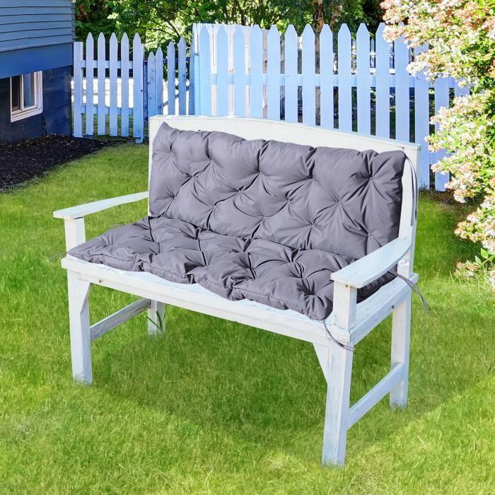 Coussin matelas assise dossier pour banc de jardin balancelle canapé 3 places grand confort 150 x 98 x 8 cm gris neuf 36