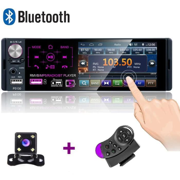 Autoradio Bluetooth 4 ''-FM/AM/RDS stéréo pour Voiture avec Double Port USB/AUX-in/Carte SD + caméra de recul + Commande au Volant.
