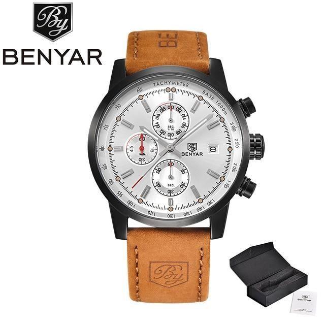 BENYAR hommes montres de luxe haut marque Quartz chronographe montre mode sport automatique Date en cuir hom Brown white -QUIN8803