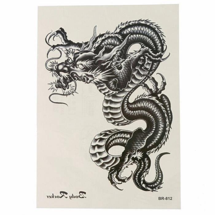 1pc tatouages temporaires 3D noir Dragon amovible imperméable temporaire tatouage bras jambe corps Art autocollant
