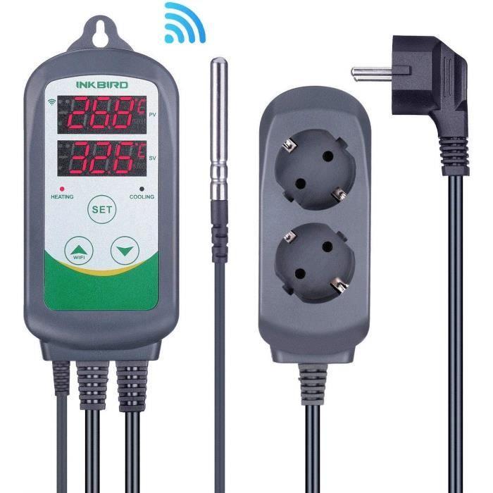 ITC-308 Prise Thermostat WiFi Numérique 2 Relais 220V Sonde Controleur de Temperature Réfrigération Chauffage pour Aquarium
