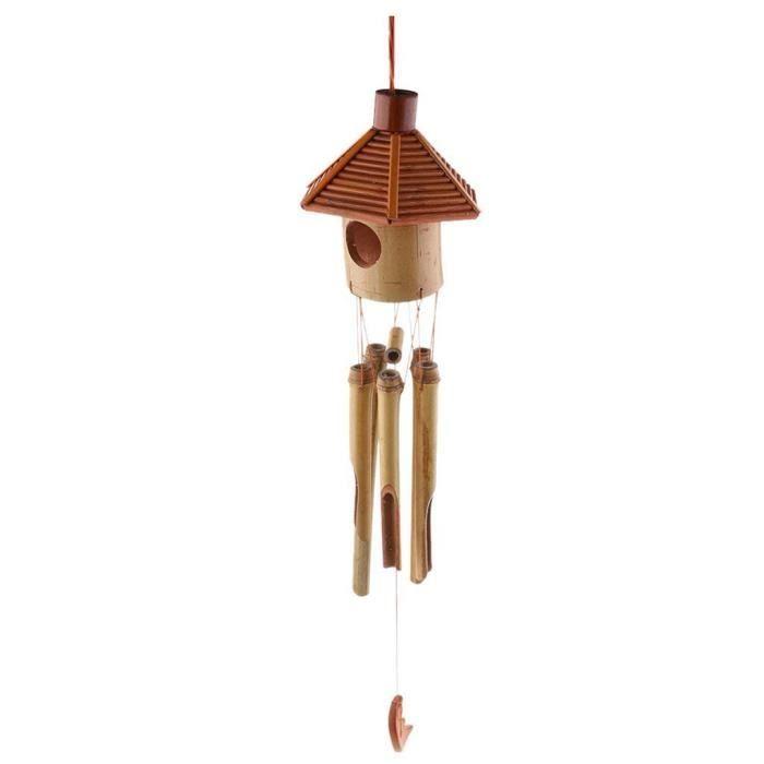 CARILLON A VENT - CARILLON EOLIEN,Hexagone pavillon bambou lune pendentif vent carillon vent cloche maison bureau école - NO1 #A
