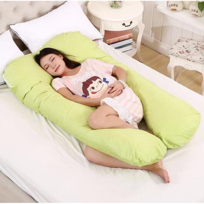 Oreiller Multifonctionnel de Grossesse Coussin de Maternite Confortable de U-forme pour Les Femmes Enceintes 130*70cm Vert