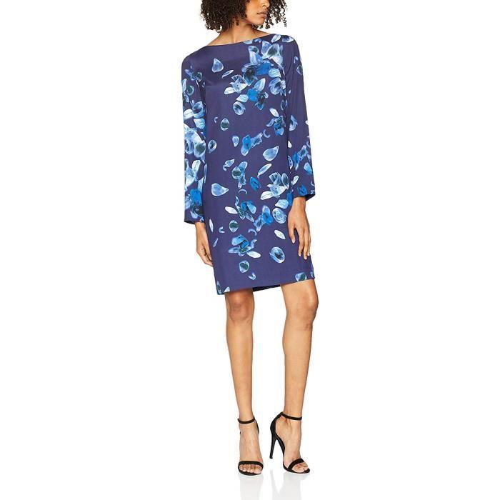 Cacharel Robe Droite COL Bateau, Bleu (Marine), (Taille Fabricant: 38) Femme - 17HFP420635-580
