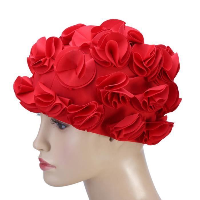 Dilwe bonnet de bain rétro Femmes Enfants Fleur Forme Mode Bonnet De Bain Élastique Bonnet De Bain Cheveux Longs
