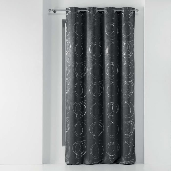 CDAFFAIRES-Rideau a oeillets 135x240 cm occultant Youpi Anthracite/argent