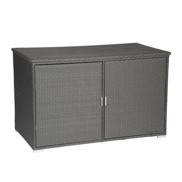 Coffre de rangement en résine tressée grise avec portes NONZA - Gris